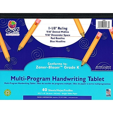 Pacon® Zaner-Bloser™ ™ Multi-Program Handwriting Tablet Paper, Grades Kindergarten
