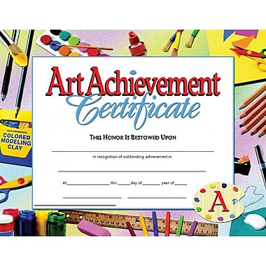 Hayes® Blue Border Art Achievement Certificate, 8 1/2