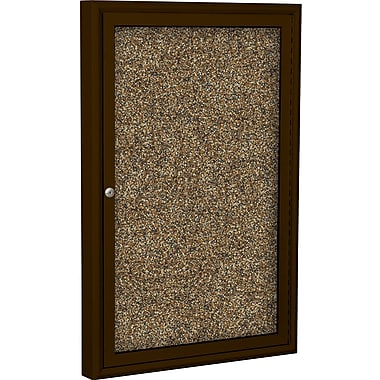 Best-Rite Enclosed Rubber Tak Bulletin Board, Coffee Finish Frame, 2' x 3'