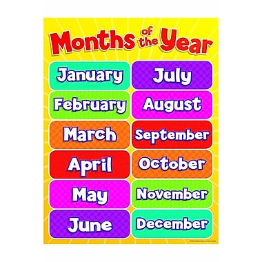 Teacher's Friend® Months of the Year Chart, Grades Pre ...