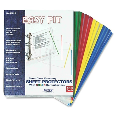 Stride Easy Fit Top-Loading Sheet Protectors with Color Bar Indicators, 8 1/2