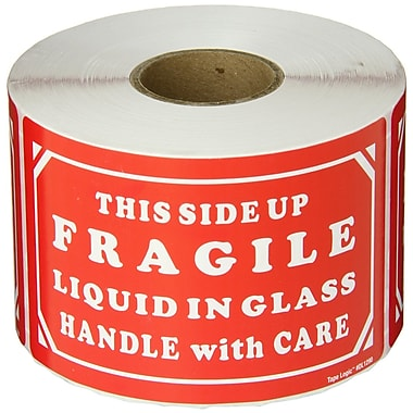 Tape Logic Fragile - Liquid in Glass - HWC Shipping Label, 3