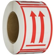 "Tape Logic® Labels, (Two Red Arrows Over Red Bar), 3"" x 5"", Red/White, 500/Roll"