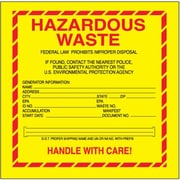"Tape Logic Hazardous Waste - Standard Shipping Label, 6"" x 6"", 500/Roll"