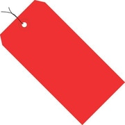"4 3/4"" x 2 3/8"" - Staples Red 13 Pt. Shipping Tag - Pre-Wired, 1000/Case"