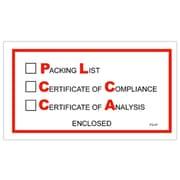 "Staples Envelopes, 5 1/2"" x 10"" - Full Face, ""Packing/Cert of Compliance/Cert. of Analysis Enclosed"", 1000/Case"