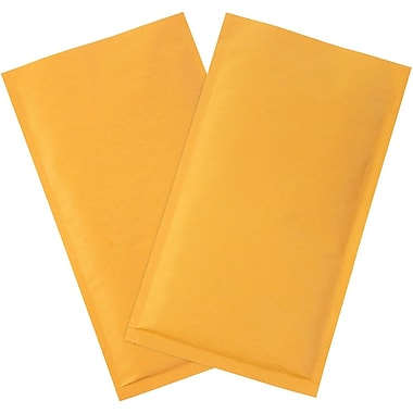 Staples® Heat-Seal #00 Bubble Mailers, Kraft, 4-7/8