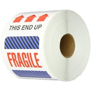 "Tape Logic This End Up - Fragile Shipping Label, 4"" x 6"", 500/Roll"