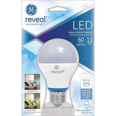 GE Reveal A19 LED Dimmable Light Bulb, 11 Watt