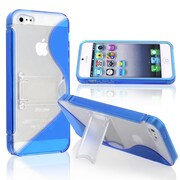 Insten® TPU Rubber Skin Case With Stand For Apple iPhone 5, Blue S Shape