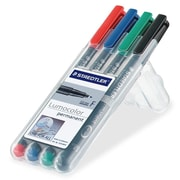 Staedtler Lumocolor Fiber Tip Pens, Permanent, Fine Point, Assorted, 4/Pack