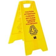 """Mutual Industries """"Caution Wet Floor"""" Industrial Floor Sign, Yellow"""