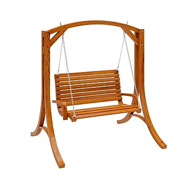 CorLiving™ Wood Canyon Solid Pine Stained Patio Swing, Cinnamon Brown