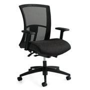Global Vion Fabric Mesh High Back Ergonomic Chair, Black, Adjustable Arms (6321-8-UR22)