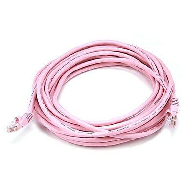 Monoprice® 20' 24AWG Cat5e UTP Ethernet Network Cable, Pink
