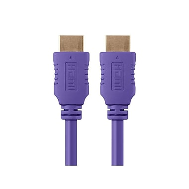 Monoprice® 3' High Speed HDMI Male to Male 28AWG Cable With Ferrite Cores, Purple