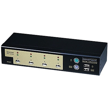Monoprice® USB PS2 Combo KVM Switch With Cables, 4 Ports