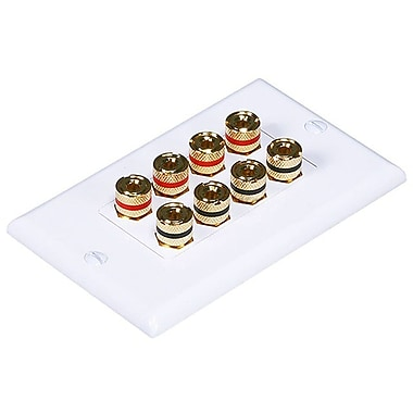 Monoprice® High Quality Banana Binding Post Two-Piece Inset Wall Plate For 4 Speaker, White