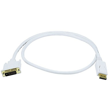 Monoprice® 3' DisplayPort Male to DVI Male 28AWG Cable, White