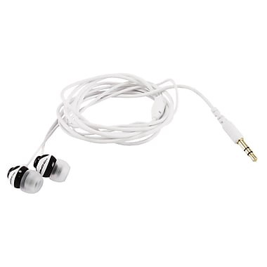 Monoprice® Button Design Noise Isolating Earphones, Black/White