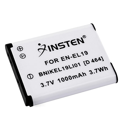 Insten 392615 3.7 VDC Rechargeable Li ion Battery For Nikon EN EL19 White