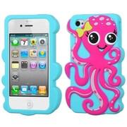 Insten® Pastel Skin Case F/iPhone 4/4S, Hot-Pink/Baby Blue Octopus