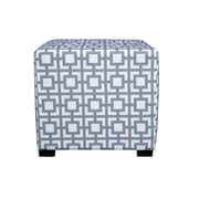 MJLFurniture Merton Gigi Square 4-Button Upholstered Ottoman; Blue/Gray