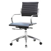 Fine Mod Imports Mid-Back Leather Office Chair with Arms; Black