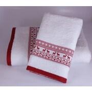 Enchante Home Embellished Christmas Deer 2 Piece Towel Set; White