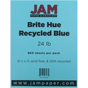 "JAM Paper® 8 1/2"" x 11"" Brite Hue Recycled Paper, Blue, 500 Sheets/Ream"