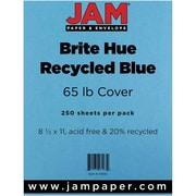 """JAM Paper® 65 lb. 8 1/2"""" x 11"""" Brite Hue Recycled Cover Cardstock, Blue, 250 Sheets/Ream"""