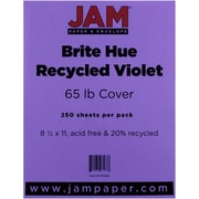"JAM Paper® 65 lb. 8 1/2"" x 11"" Brite Hue Recycled Cover Cardstock, Violet, 250 Sheets/Ream"