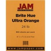 "JAM Paper® 24 lb. Brite Hue Paper, 8 1/2"" x 11"", Ultra Orange, 500/Ream"