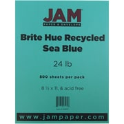 "JAM Paper® 8 1/2"" x 11"" Brite Hue Recycled Paper, Sea Blue, 500 Sheets/Pack"
