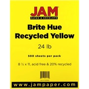 "JAM Paper® 8 1/2"" x 11"" Brite Hue Recycled Paper, Yellow, 500 Sheets/Pack"
