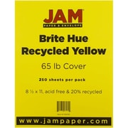 "JAM Paper® 65 lb. 8 1/2"" x 11"" Brite Hue Recycled Cover Cardstock, Yellow, 250 Sheets/Ream"