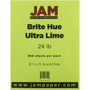"JAM Paper® 8 1/2"" x 11"" Brite Hue Recycled Paper, Ultra Lime Green, 500/Ream"