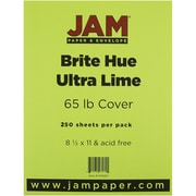 "JAM Paper® 65 lb. 8 1/2"" x 11"" Brite Hue Cover Cardstock, Ultra Lime Green, 250 Sheets/Ream"