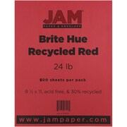 "JAM Paper® 8 1/2"" x 11"" Brite Hue Recycled Paper, Red, 500/Ream"