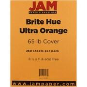 "JAM Paper® 65 lb. 8 1/2"" x 11"" Brite Hue Cardstock, Ultra Orange, 250/Pack"