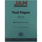 "JAM Paper® 28 lb. Printer Paper, 8 1/2"" x 11"", Teal Blue, 500/Ream"