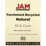 "JAM Paper® 65 lb. 8 1/2"" x 11"" Parchment Recycled Cover Cardstock, Natural, 250 Sheets/Ream"