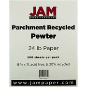 """JAM Paper® 24 lb. Parchment Recycled Paper, 8 1/2"""" x 11"""", Pewter, 500/Ream"""