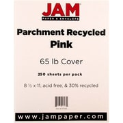 "JAM Paper® 65 lb. 8 1/2"" x 11"" Parchment Recycled Cover Cardstock, Pink Ice, 250 Sheets/Ream"