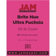"JAM Paper® 65 lb. 8 1/2"" x 11"" Brite Hue Recycled Cover Cardstock, Ultra Fuchsia Pink, 250 Sheets/Ream"