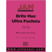 "JAM Paper® 8 1/2"" x 11"" Brite Hue Recycled Paper, Ultra Fuchsia Pink, 500/Ream"