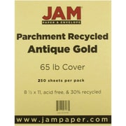 """JAM Paper® 65 lb. 8 1/2"""" x 11"""" Parchment Recycled Cover Cardstock, Antique Gold, 250 Sheet/Ream"""