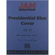 "JAM Paper® 8 1/2"" x 11"" 80 lb. Presidential Cardstock, Blue, 250 Sheets/Ream"