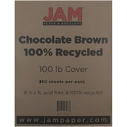 """JAM Paper® 100 lb. 8 1/2"""" x 11"""" 100% Recycled Cover Cardstock, Chocolate Brown, 250 Sheets/Ream"""