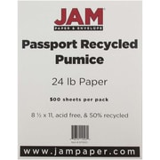 """JAM Paper® 24 lb. Recycled Paper, 8 1/2"""" x 11"""", Pumice, 500/Ream"""
